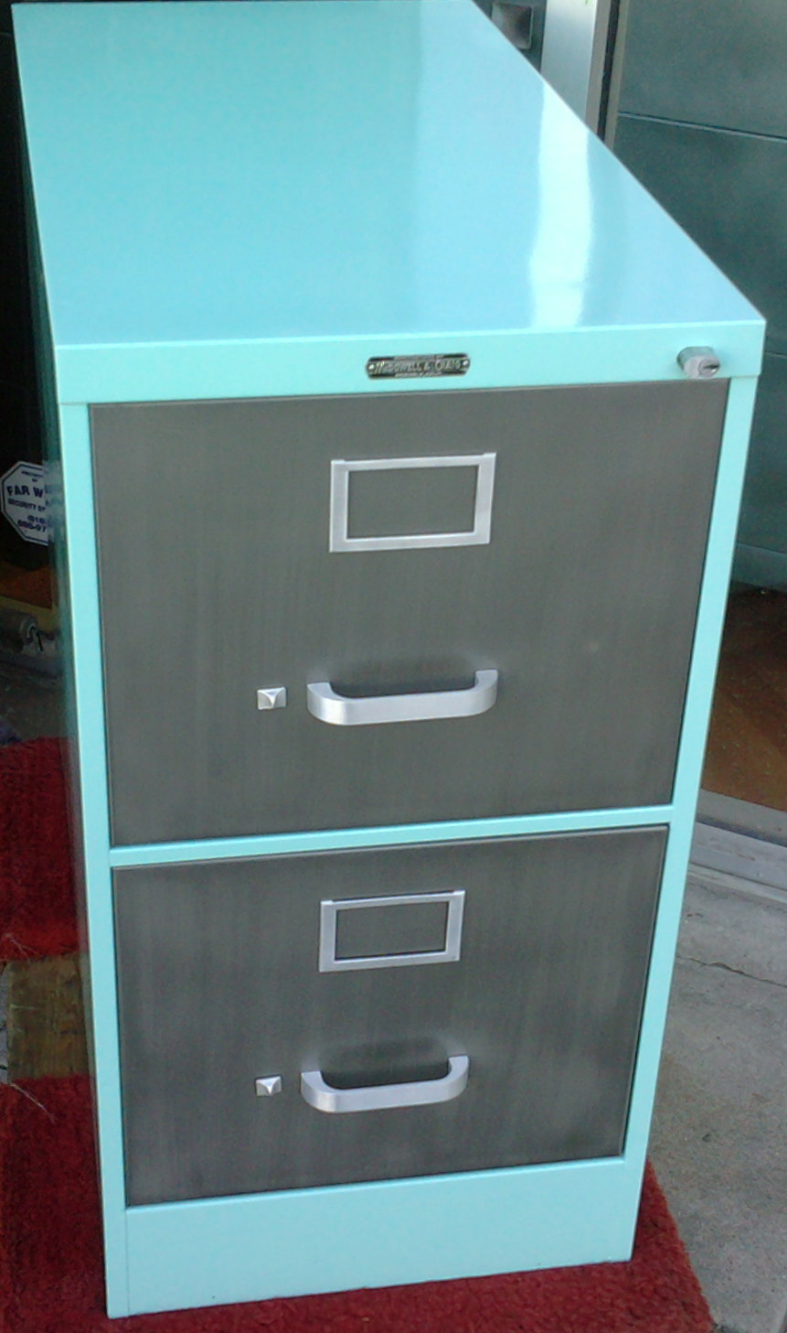 Great Custom Desk Made With Two Letter Size File Cabinets And 30D X 60W Top.  Brush Steel Top And Body With Red Drawers. Vintage Dark Gray Cole Steel  Cabinet With ...
