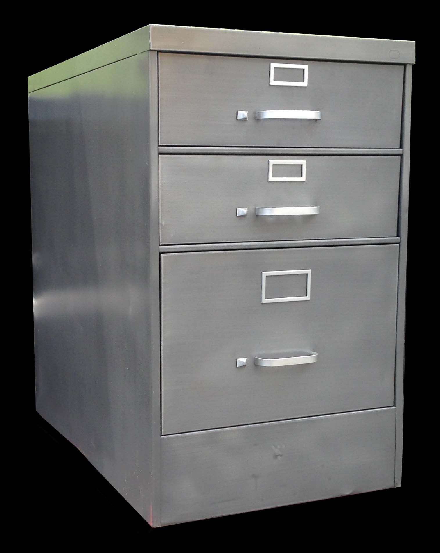 Beautiful Custom Desk Made With Two Letter Size File Cabinets And 30D X 60W Top.  Brush Steel Top And Body With Red Drawers. Vintage Dark Gray Cole Steel  Cabinet With ...